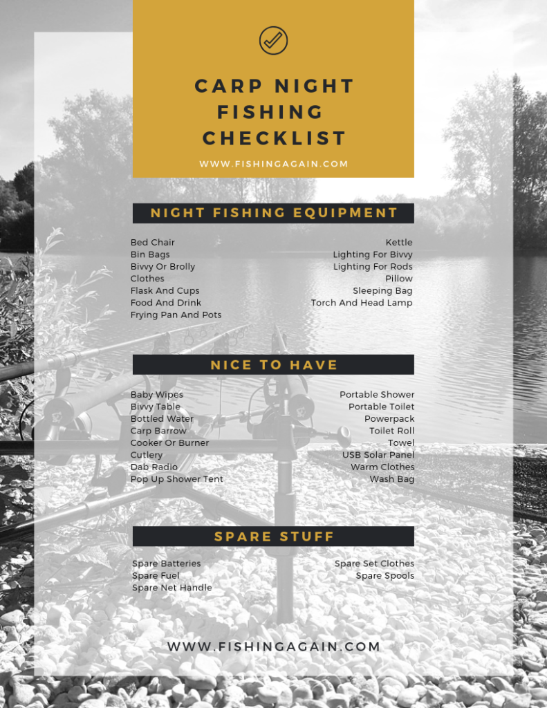 Carp Night Fishing Checklist